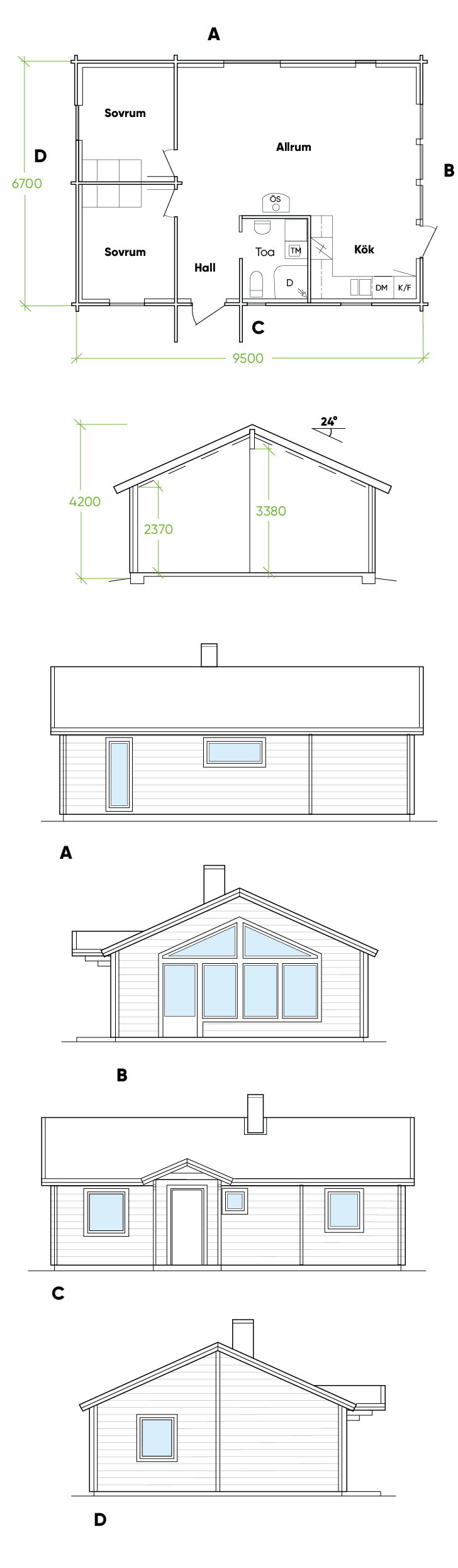 Fritidshus Matsdal ritning Bygg & trä 1